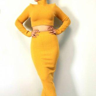 női kötött sárga két részes szett