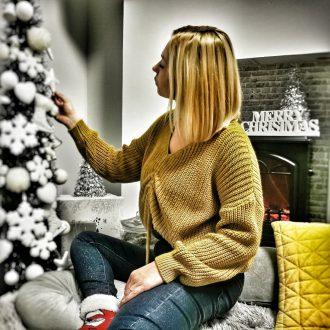 női rövid kötött pulóver