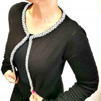 női gyöngyös fekete kötött boleró