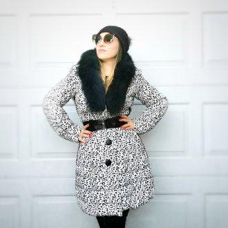 női állatmintás téli kabát