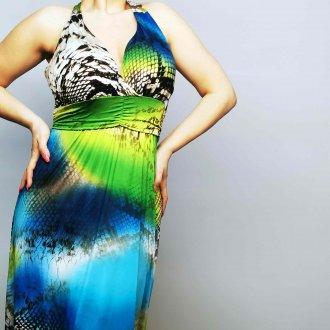 női kék maxi nyári ruha