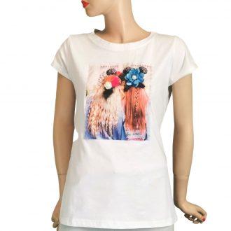Barátnő mintás fehér női póló