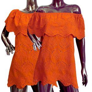 Narancssárga váll nélküli fodros női csipke tunika
