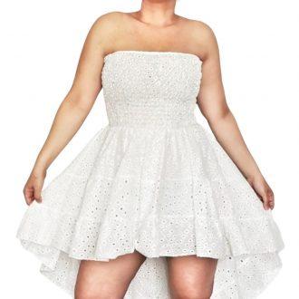 Elől rövid hátul hosszú fehér női csipke ruha