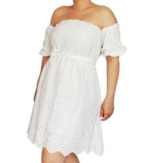 Fehér csipke nyári női mini ruha