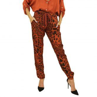 Terrakotta állatmintás selyem női nadrág